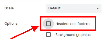 Chrome's headers and footers setting