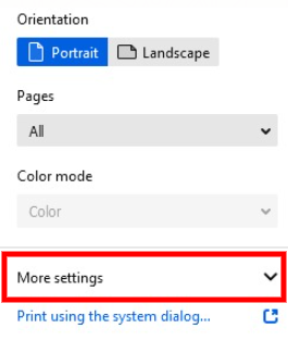 Firefox' More Settings button