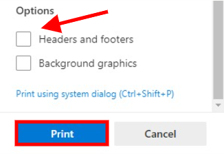 Edge's headers and footers setting and Print button