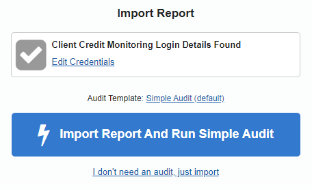 Import report feature with saved access details